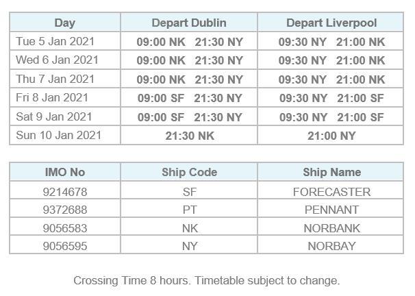 Dublin Liverpool Timetable