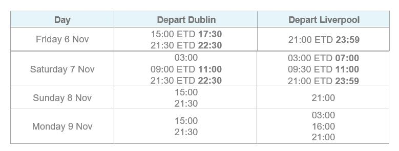 Dublin - Liverpool Timetable