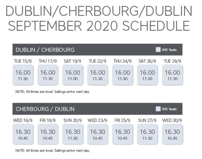 Dublin - Cherbourg Sep 20 timetable