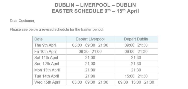 P&O timetable 2