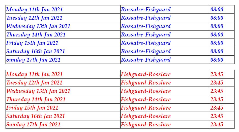 Fishguard to Rosslare revised timetable