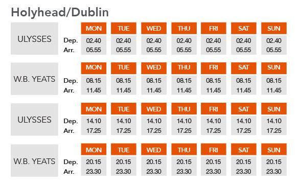 holyhead dublin timetable