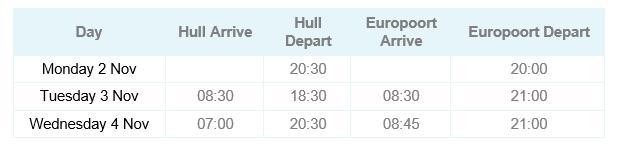 Hull - Europoort Timetable Nov 20
