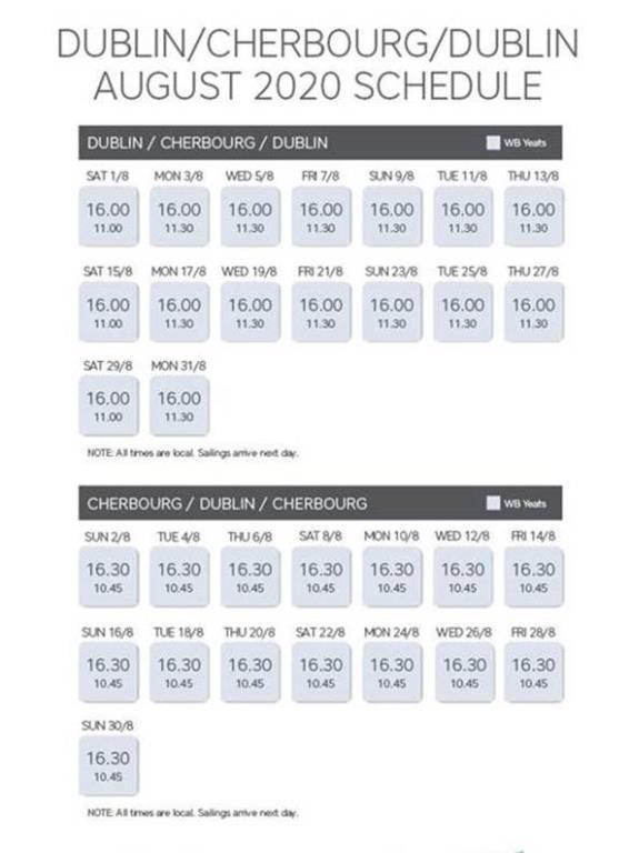 Irish ferries Aug timetable