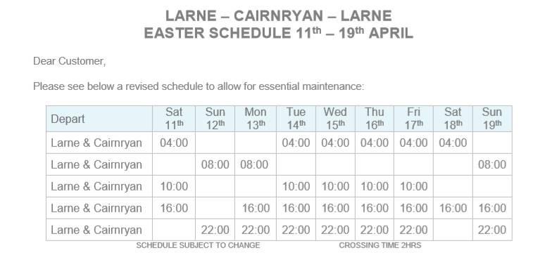 P&O timetable 09.04.2020