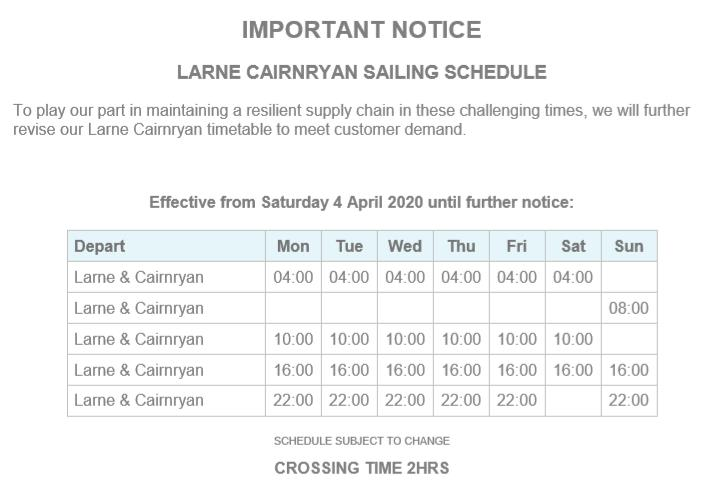 P&O updated service schedule - 01.04.2020