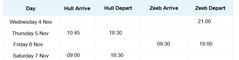 Pride of Brugge timetable