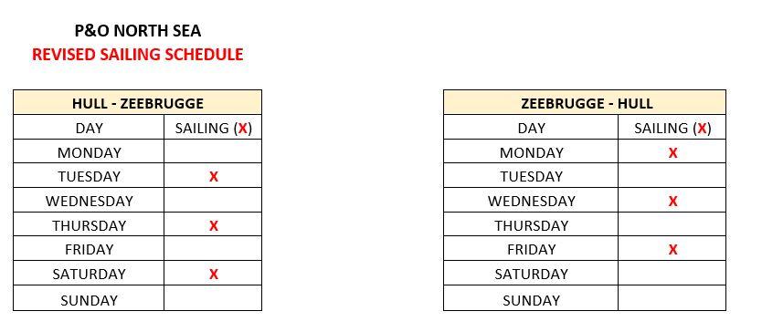 P&O Hull - Zeebrugge Schedule