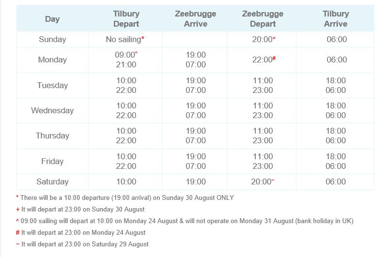 Thames Schedule Aug 20
